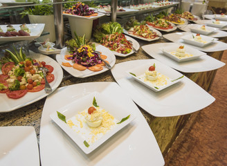 Selction of salad food at a restaurant buffet