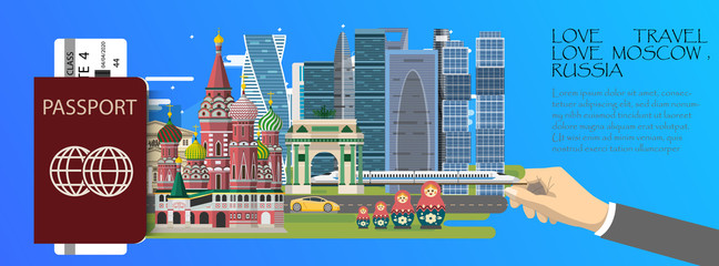 Travel infographic .Moscow  infographic , passport  with landmarks of Russia.