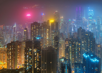 The Peak Hong Kong, Night scene of cityscape of Hong Kong