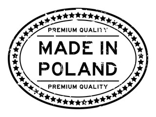 Grunge premiumq quality made in Poland oval rubber seal business stamp on white background