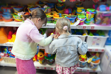 Little girls in   toy store
