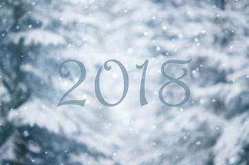 2018 Happy new year. Beautiful winter background.
