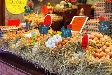 Selling eggs at local market in Barcelona, Boqueria