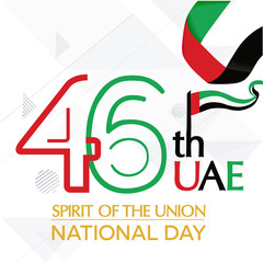 UAE United Arab Emirates independence day, national awakening day, and spirit of the union, United Arab Emirates with flag background red white black green