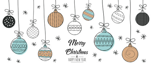 Set of hand drawn christmas baubles. Decoration isolated elements. Doodles and sketches vector illustration