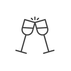 Glasses of champagne clinking line icon, outline vector sign, linear style pictogram isolated on white. Pair of champagne glass cheers symbol, logo illustration. Editable stroke