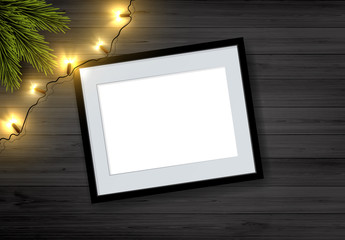Vector Christmas Background: Top View Of Empty Picture Frame On Wooden Rustic Board With Christmas Lights And Pine Branch.
