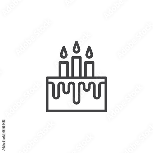 Birthday Cake With Candles Line Icon Outline Vector Sign Linear