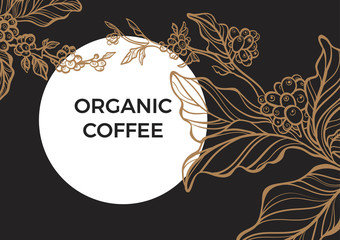 Coffee branch with leaves and natural coffee beans. Retro vintage vector. Template