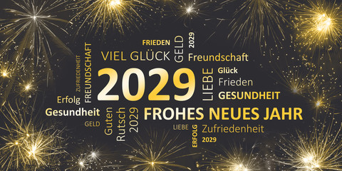 Silvesterkarte mit Glückwünschen für 2029