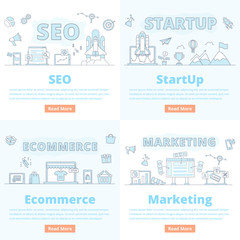 SEO Startup ecommerce marketing banner concept