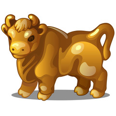 Golden figure of cow. Chinese horoscope symbol. Calendar of 12 animals. Eastern astrology. Sculpture isolated on white background. Vector illustration