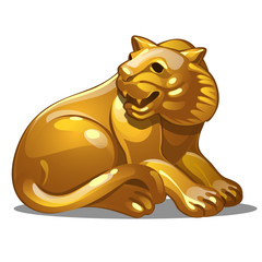 Golden figure of tiger. Chinese horoscope symbol. Calendar of 12 animals. Eastern astrology. Sculpture isolated on white background. Vector illustration