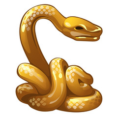 Golden figure of snake. Chinese horoscope symbol. Calendar of 12 animals. Eastern astrology. Sculpture isolated on white background. Vector illustration