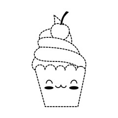 delicious cupcake kawaii character vector illustration design