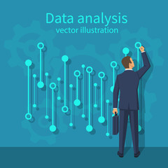 Data analysis. Businessman in suit with briefcase standing statistical datawith charts, diagrams. Financial statistics, reporting, strategy development. Vector illustration flat design.