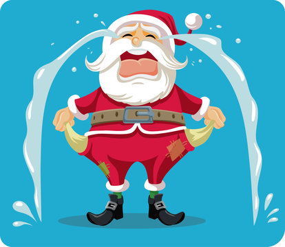 Sad Crying Santa With Empty Pockets Vector Cartoon