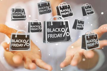 Businesswoman enjoying black Friday sales 3D rendering