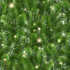 Seamless green pattern from Christmas tree branches. Realistic illustration. Golden glowing stars. Shining sparks. The branches of the pine are scattered randomly over the background. Vector. EPS10