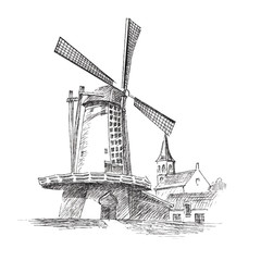 Vector graphic illustration of a mill with houses