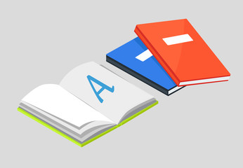 Open Book with Letter A Vector and Textbooks