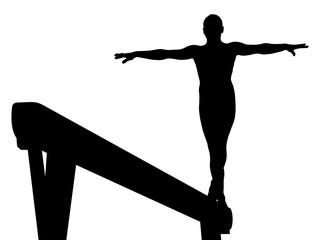 balance beam girl gymnast in artistic gymnastics vector illustration