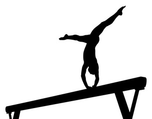 balance beam girl gymnast in artistic gymnastics black silhouette