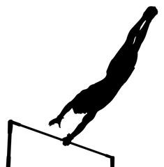 black silhouette horizontal bar man gymnast in artistic gymnastics
