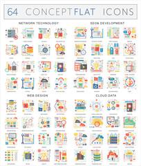 Infographics concept icons of network technology, seo development, web design, cloud data. Premium quality vector flat design for web graphics.