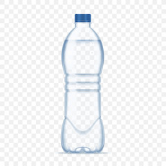 Plastic bottle with mineral water on alpha transparent background. Photo realistic bottle mockup vector illustration.