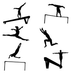 set female athletes gymnasts in artistic gymnastics silhouette