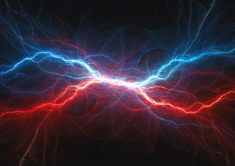 Red and blue electrical lightning, firea and icel plasma