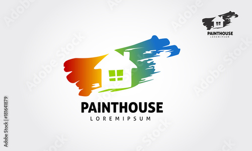 House Painting Service Decor And Repair Color Icon Vector Logo