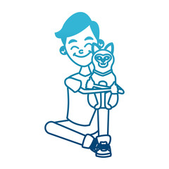 Boy with cute cat icon vector illustration graphic design