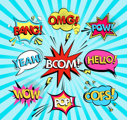 Set of comic speech bubbles with text Wow, Omg, boom, Hello, Yeah, bang, oops, pop, pow. Pop art style vector .
