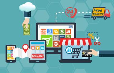 Online to Offline O2O Shopping Concept Infographic
