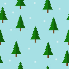 Seamless pattern of Christmas trees and snowflake on blue background using for postcards, greeting, advertisement, cover, gift packaging, web design template, Winter holidays repeating design concept.