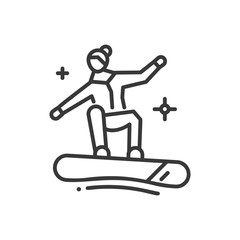 Snowboarding - line design single isolated icon