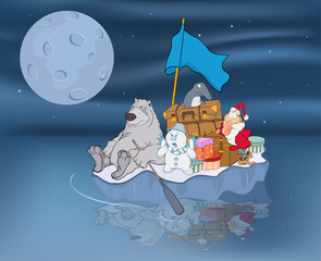 Garden Poster Baby room Illustration of Adventures of Santa Claus and his friends