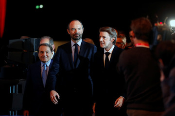 French Prime Minister Edouard Philippe and Francois Baroin, President of the Association of the Mayors of France, arrive to attend at the AMF congress, the annual meeting of French mayors, in Paris