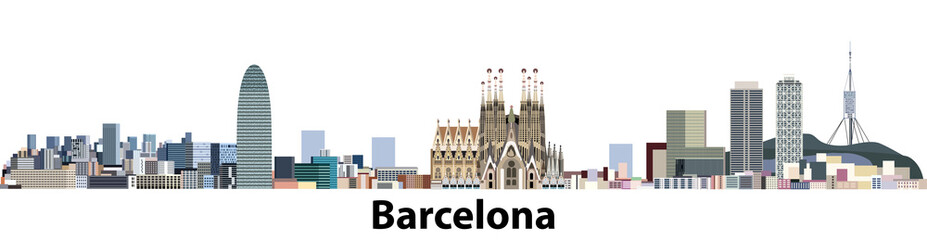 vector illustration of Barcelona city panoramic skyline