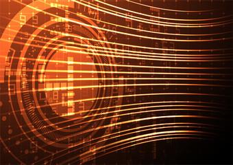 Orange digital numbers with abstrat lines