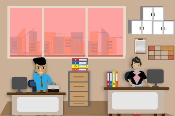 Office desk for male and female employees At work - vector illustrations