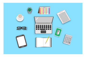 top view with laptop and accessories for work in office - vector illustration business concept