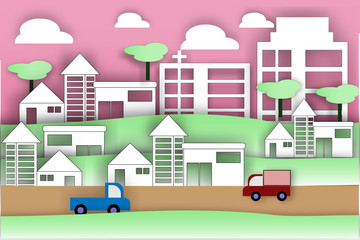 Paper art of city lifestyle - vector illustration