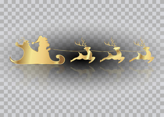 Santa Claus of gold with a reindeer flying, Merry Christmas, vector isolated