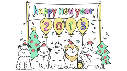 dog friends happy new year 2018