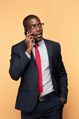 Young african business man on the phone