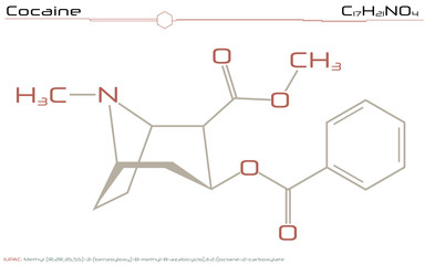 Large and detailed illustration of the molecule of Cocaine
