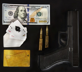 playing cards, gun, ammunitions, money, benjamin,credit card
